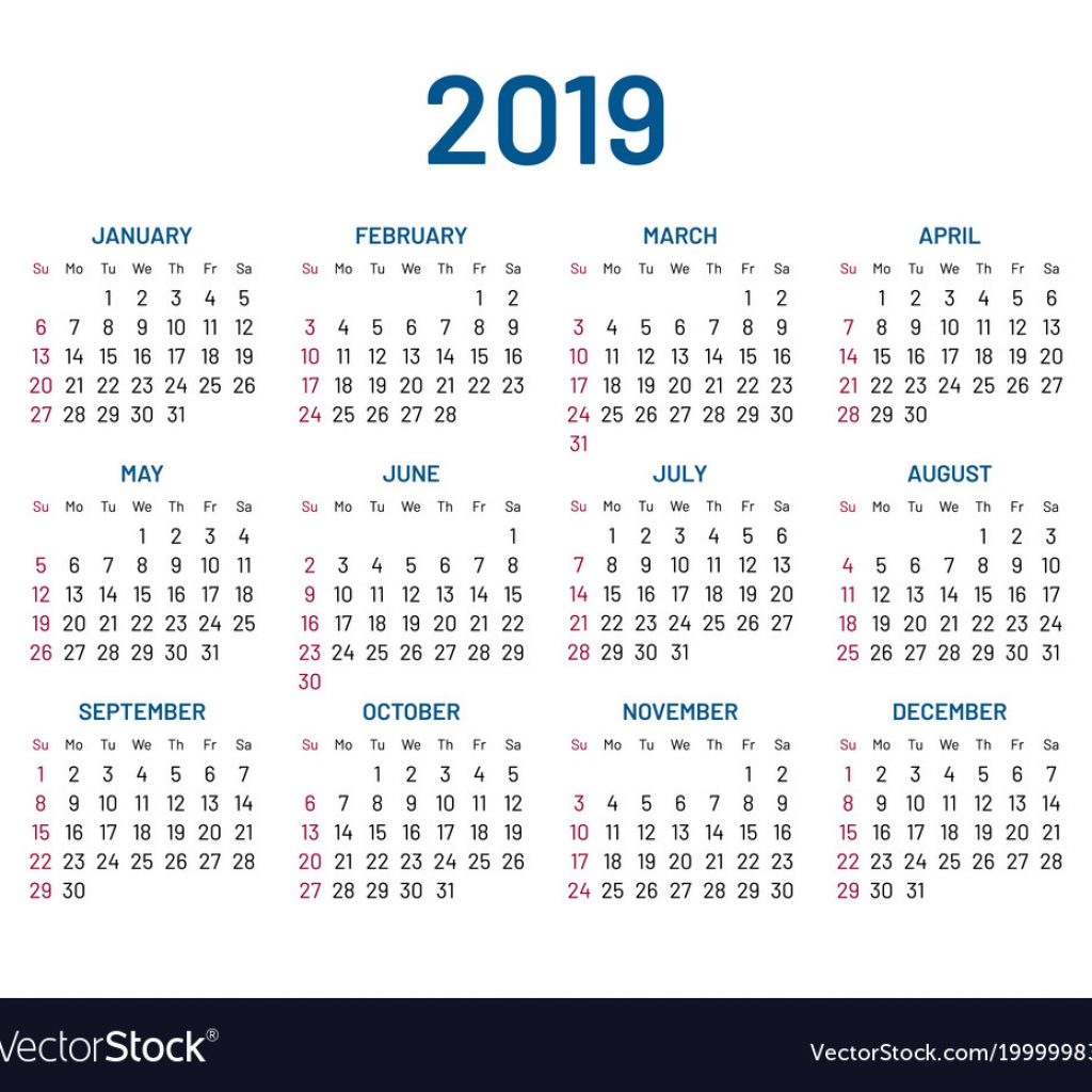 2019 Year Wall Calendar With Simple Flat Isolated Vector Image