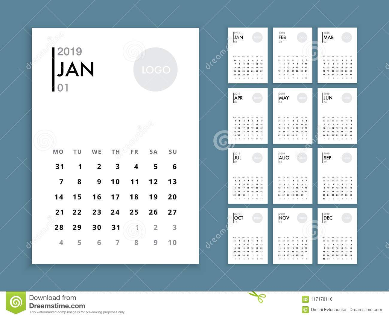 2019 Year Wall Calendar With Template Stock Vector Illustration Of Company