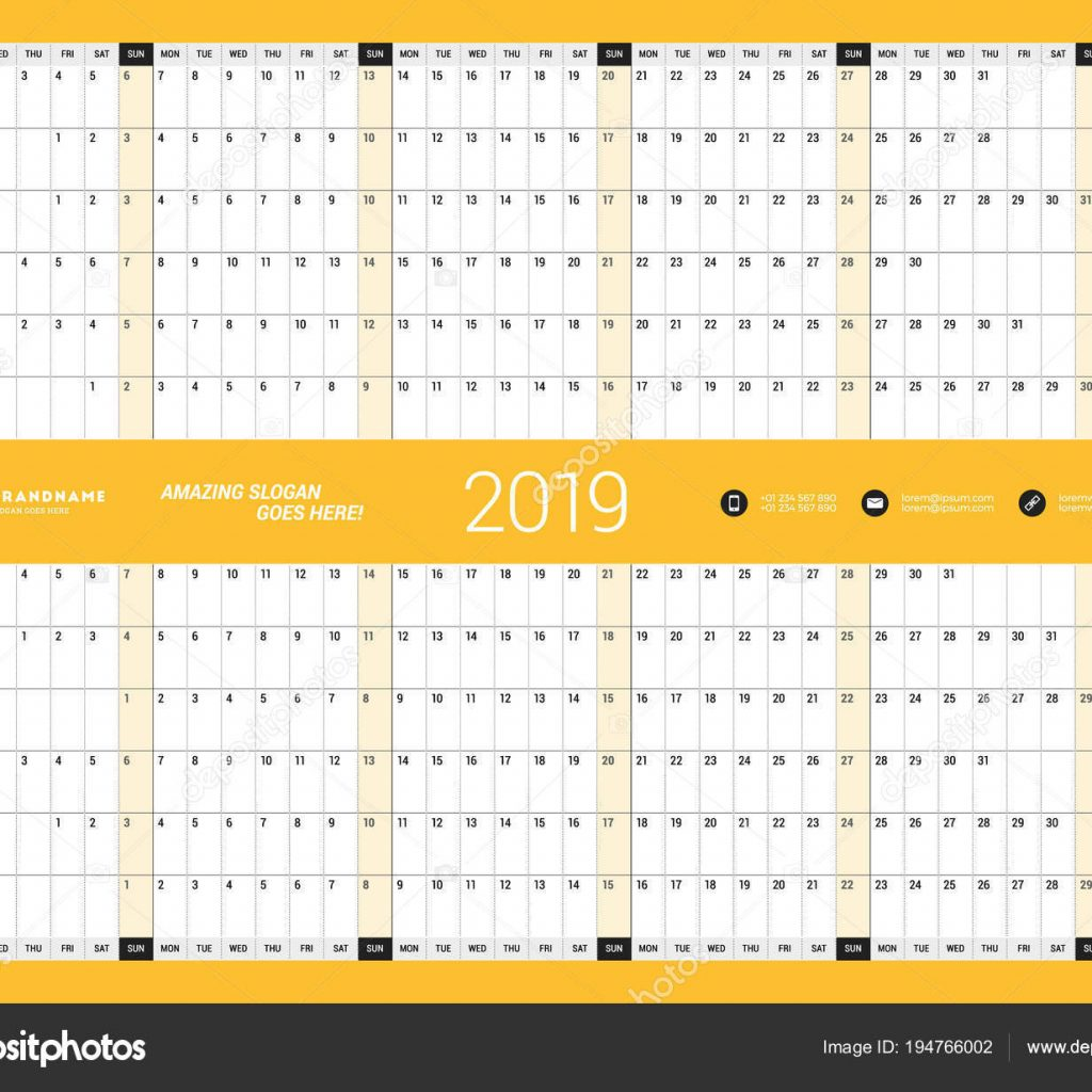 2019 Year Wall Calendar With Yearly Planner Template For Vector Design