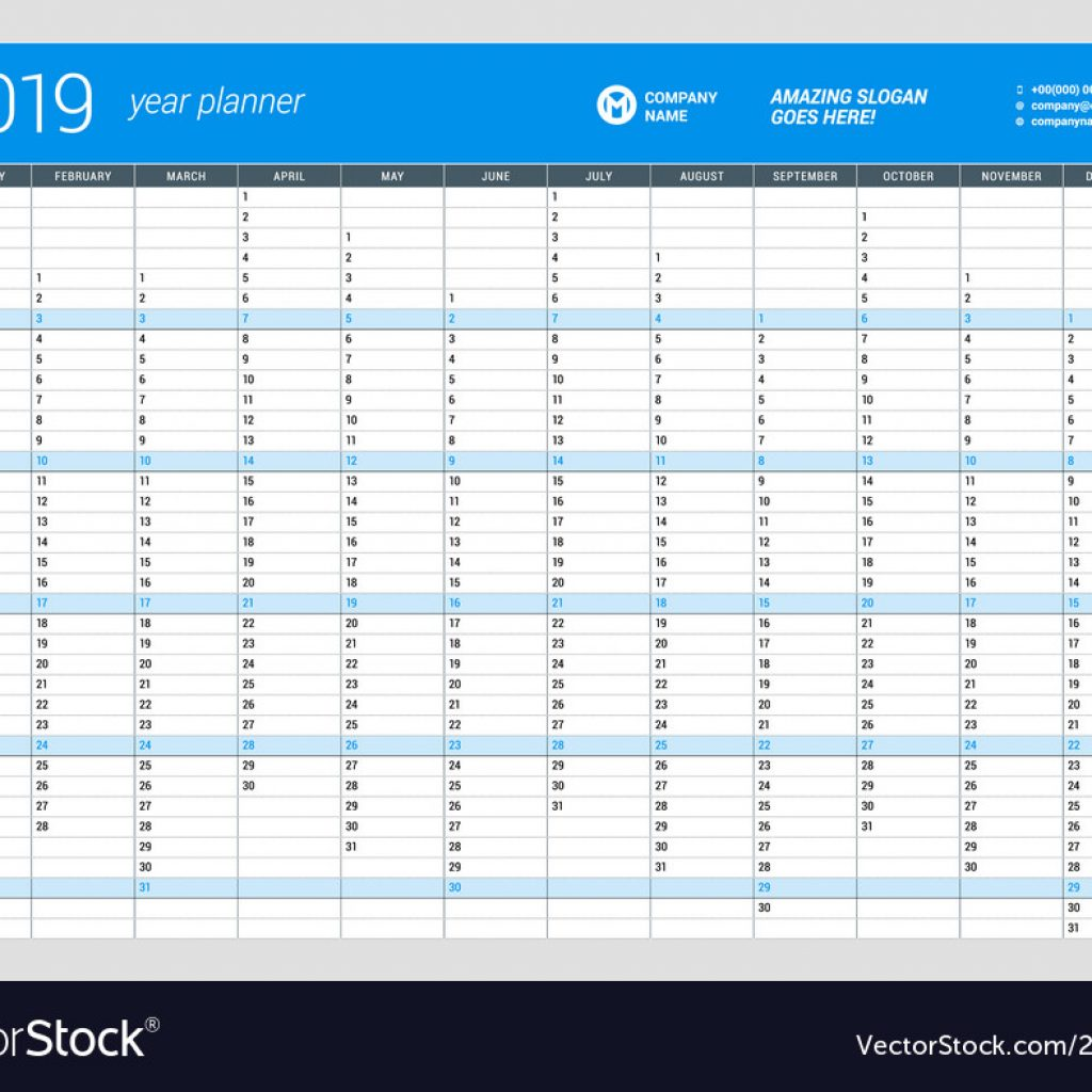 2019 Year Wall Calendar With Yearly Planner Template For Vector Image