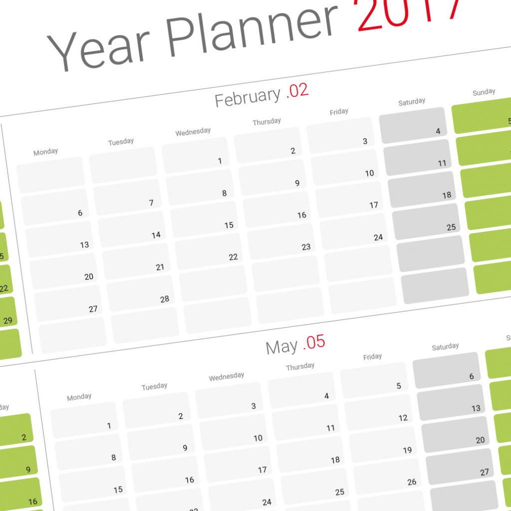 2019 Year Wall Calendar With Yearly Planner Template Modern Design Printable PDF