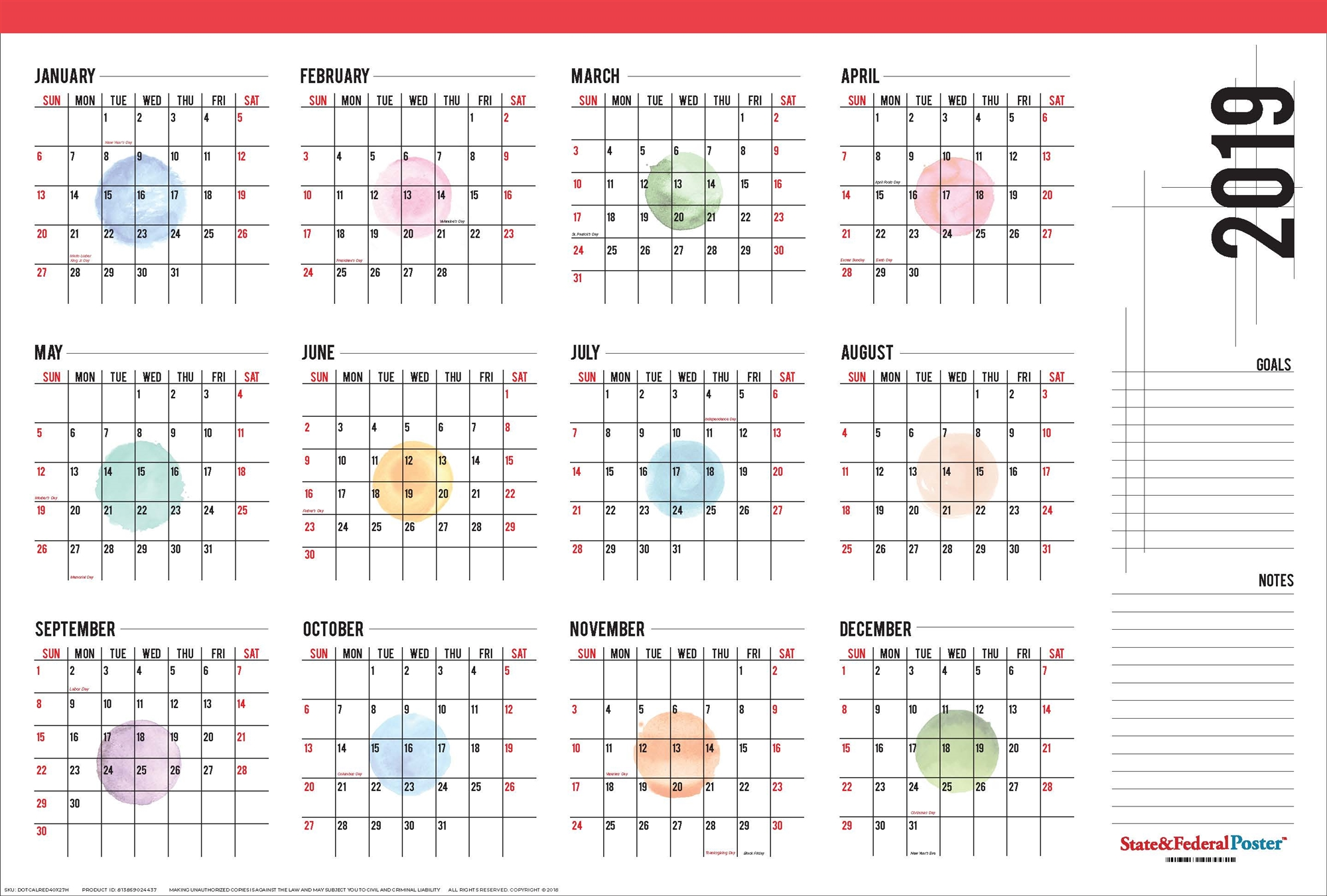 2019 Year Wall Calendar With Yearly Red 40 X 27 Watercolor Dots