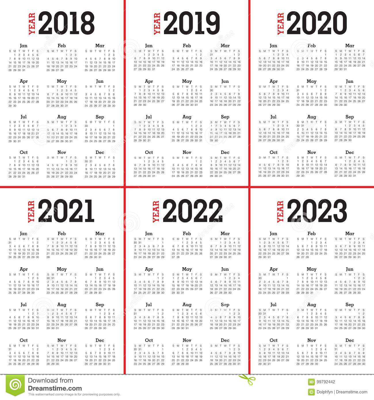 3 Year Calendar 2019 To 2021 With 2018 2020 2022 2023 Vector Stock
