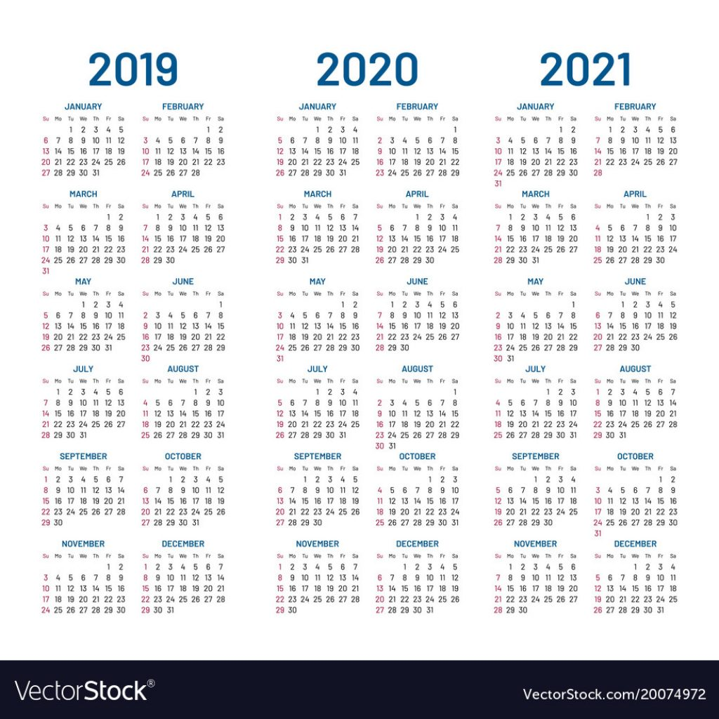 3 Year Calendar 2019 To 2021 With 2020 Royalty Free Vector Image