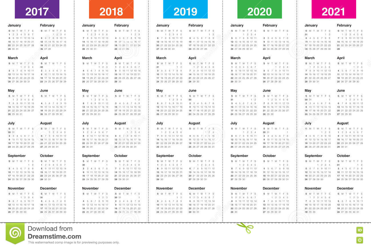 3 Year Calendar 2019 To 2021 With Simple Template For 2017 Stock Vector
