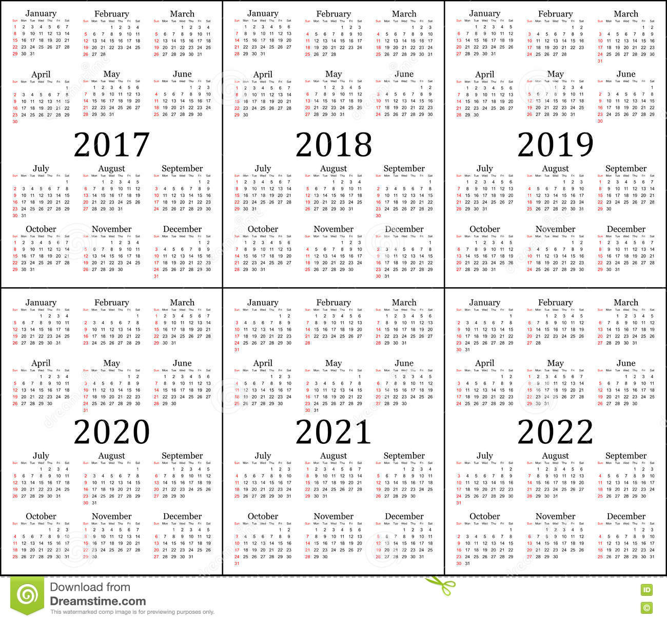 3 Year Calendar 2019 To 2021 With Six 2017 2018 2020 And 2022 Stock