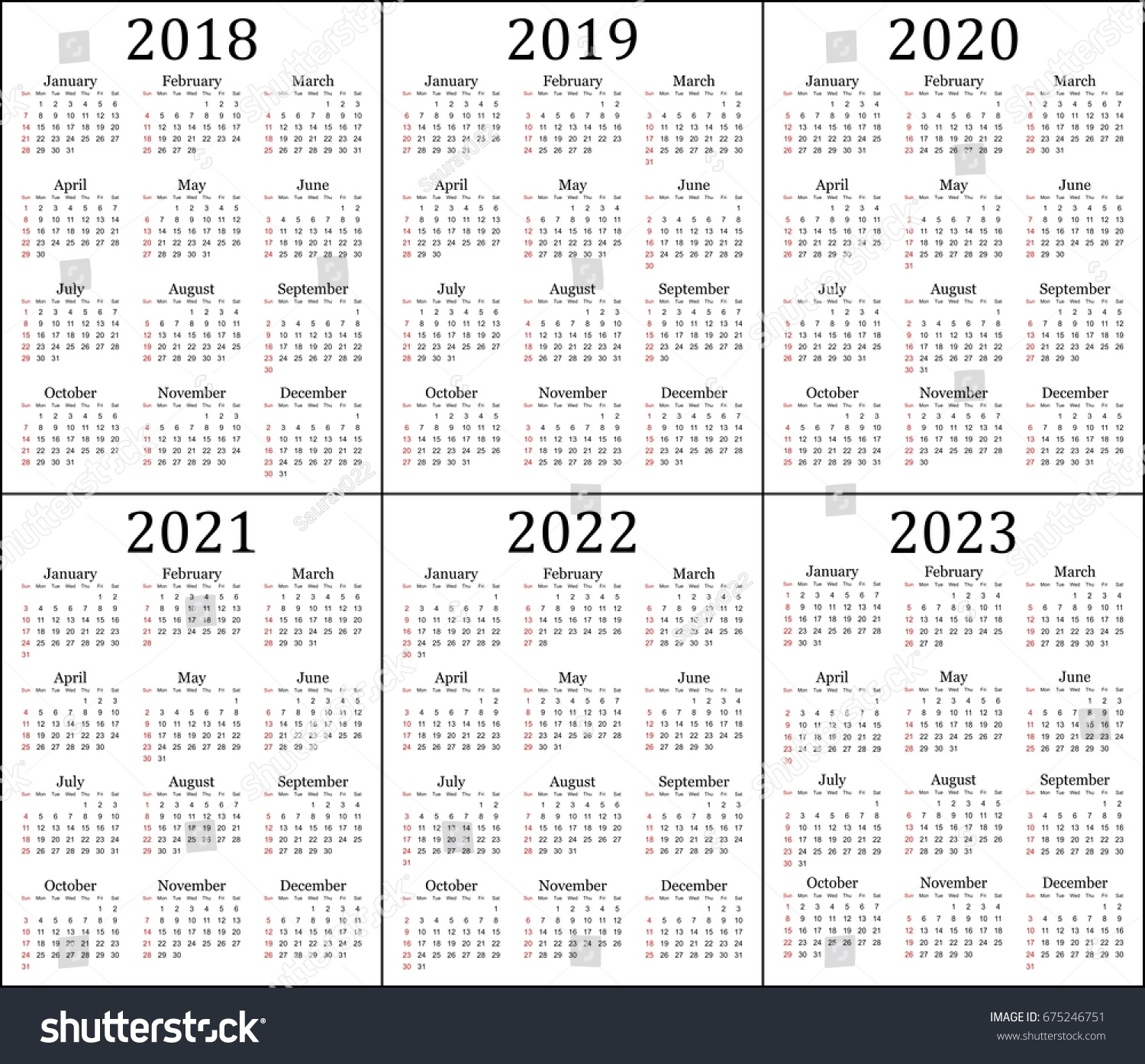 3 Year Calendar 2019 To 2021 With Six 2018 2020 Stock Vector Royalty Free