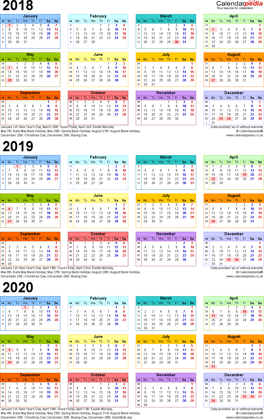 3 Year Calendar 2019 To 2021 With Three Calendars For 2018 2020 UK PDF