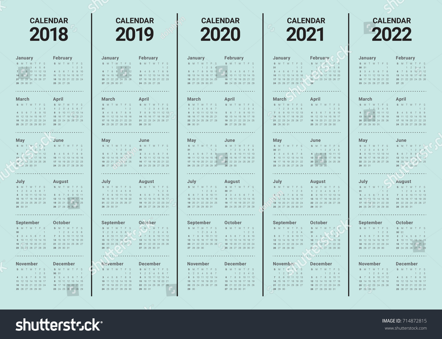 5 Year Calendar 2019 To 2023 With 2018 2020 2021 2022 Stock Vector Royalty Free 714872815