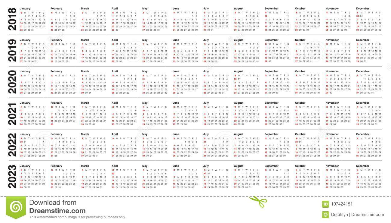 5 Year Calendar 2019 To 2023 With 2018 2020 2021 2022 Vector Stock