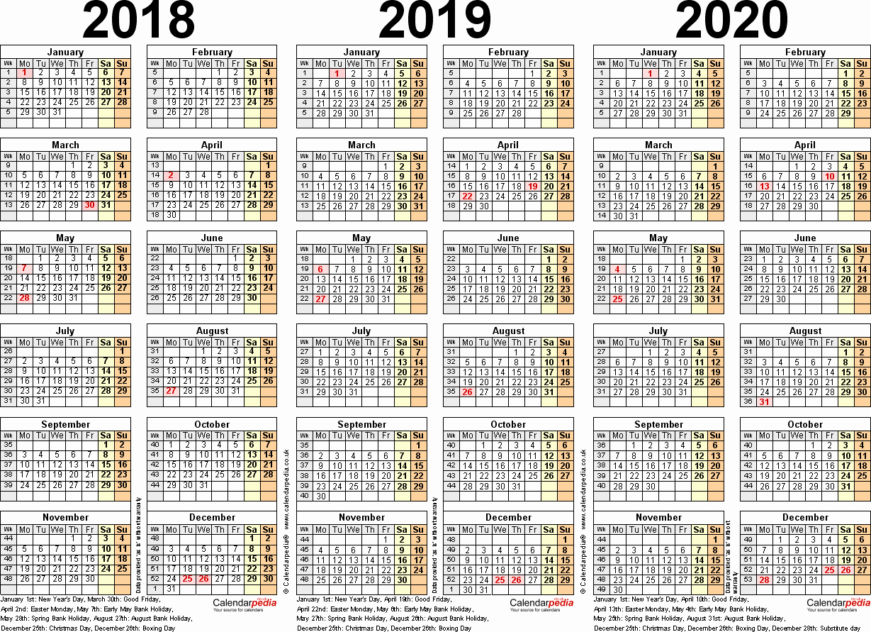 5 Year Calendar 2019 To 2023 With Download Printable Blank PDF November 2018
