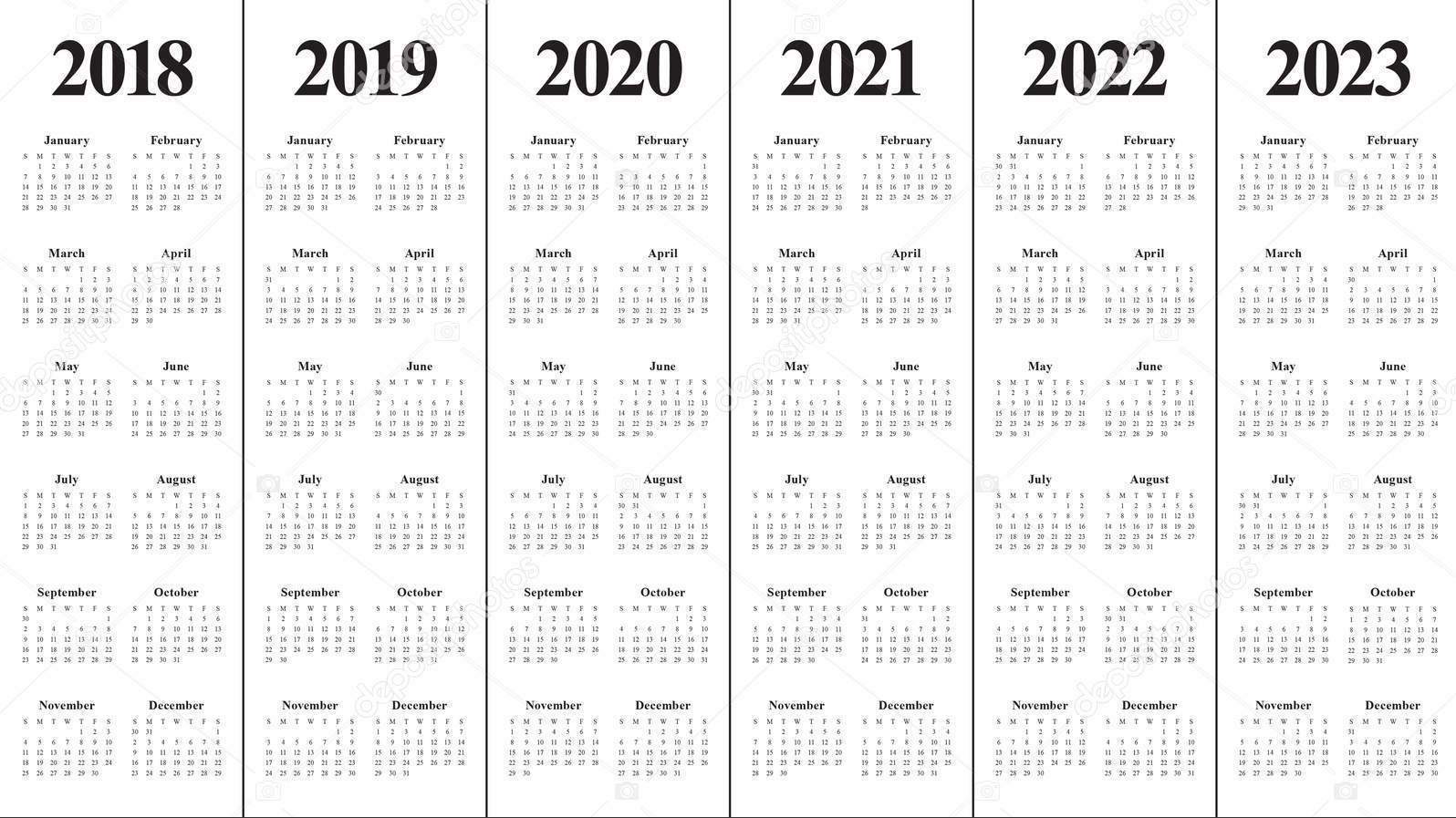 5 Year Calendar 2019 To 2023 With Free Blank PDF Printable Template March
