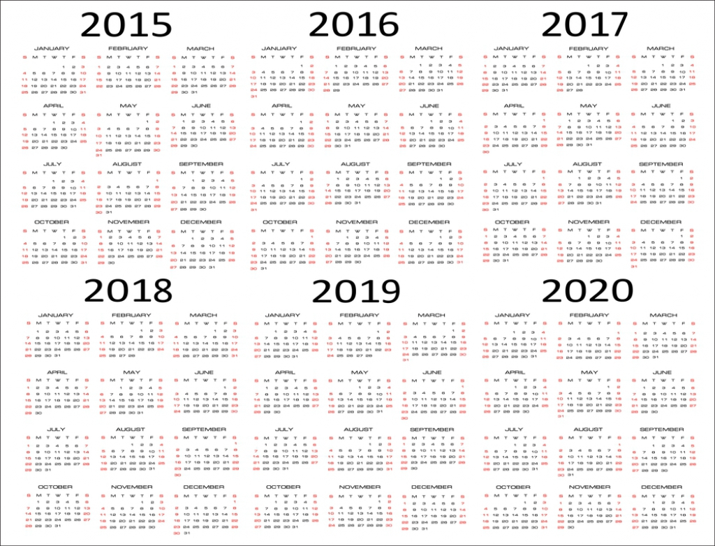 5 Year Calendar 2019 To 2023 With Free Download Printable Blank PDF Template