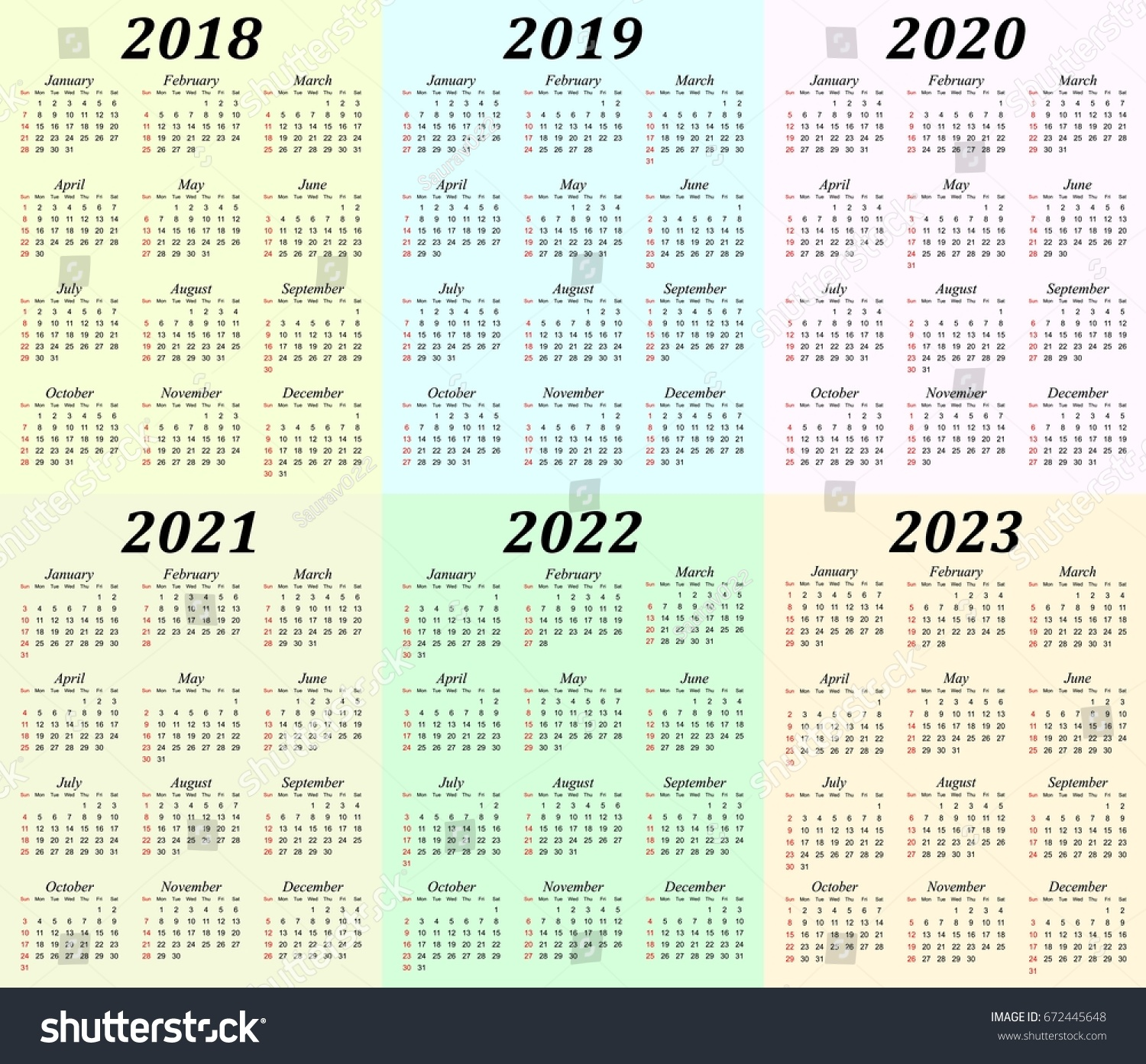 5 Year Calendar 2019 To 2023 With Free Printable Blank PDF Template April 2018