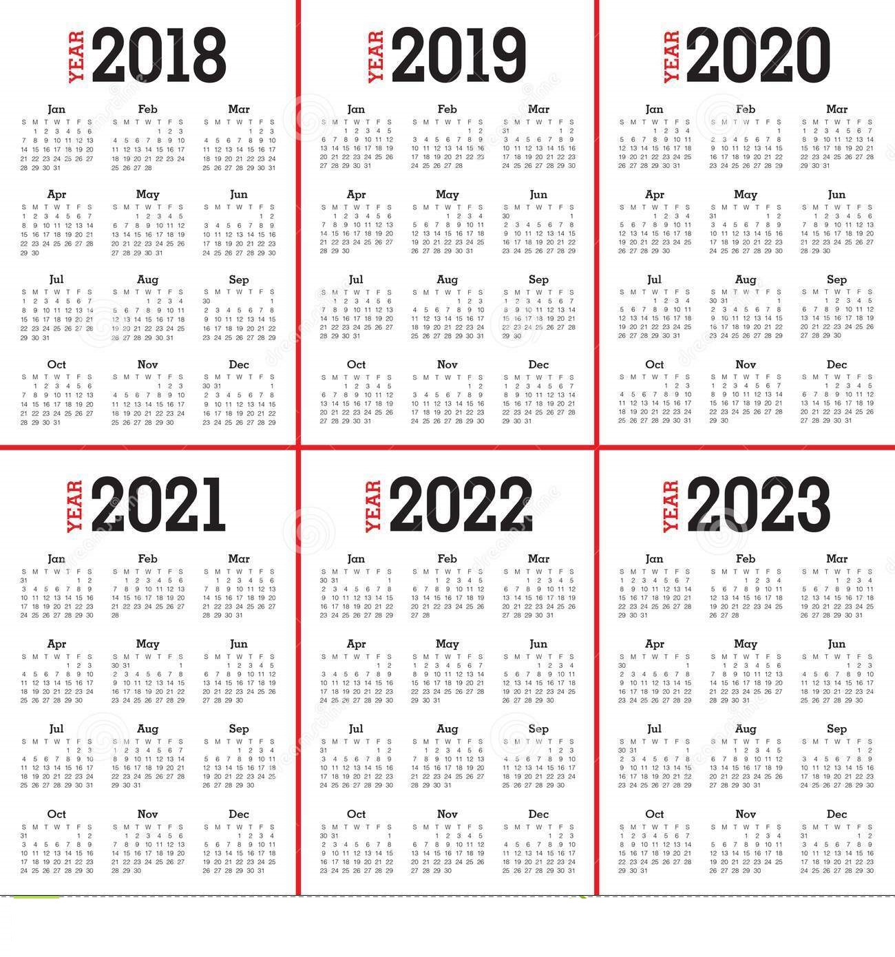 5 Year Calendar 2019 To 2023 With Free Printable Blank PDF Template October 2018