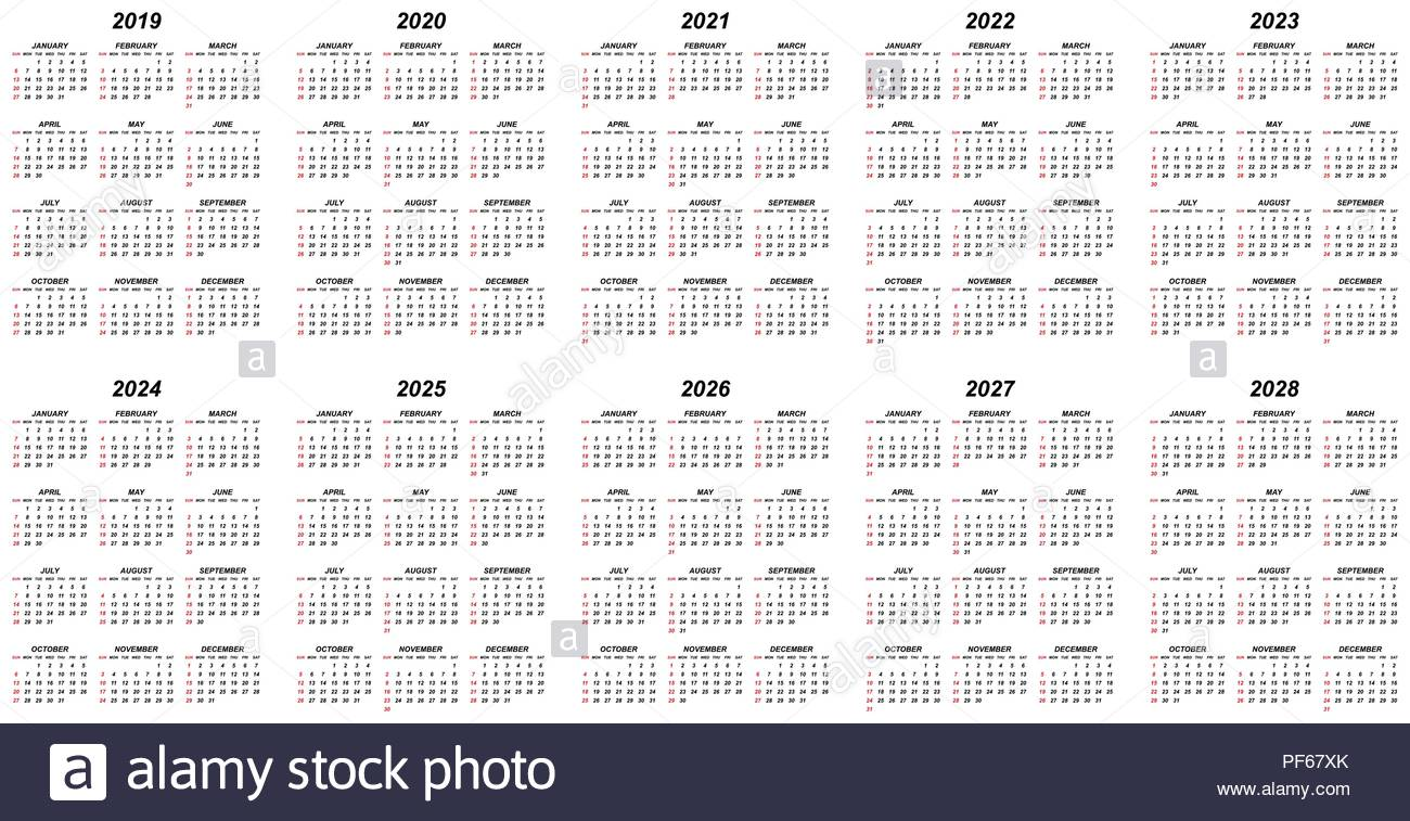 5 Year Calendar 2019 To 2023 With Simple Stock Photos