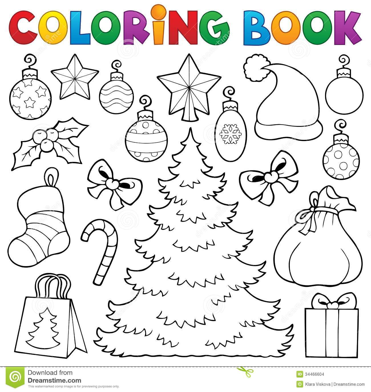 A Christmas Coloring Book With Decor 1 Stock Vector Illustration Of