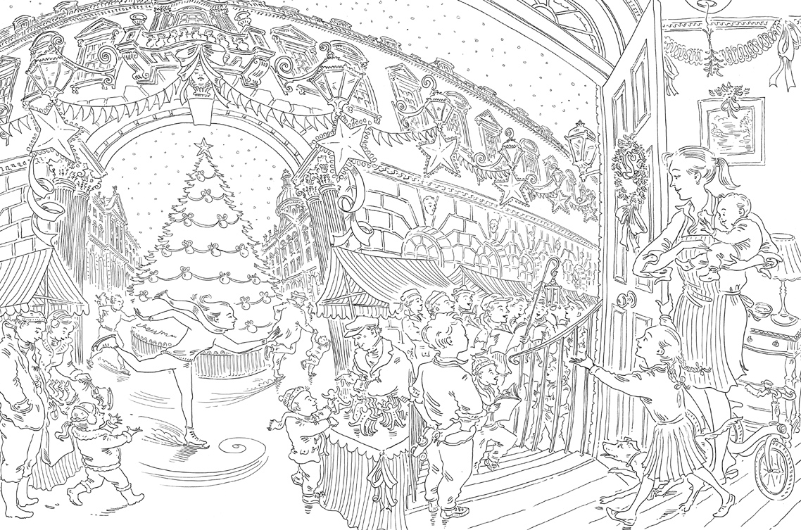 A Christmas Coloring Book With Paul Cox S Colouring Free Pattern Download WHSmith Blog