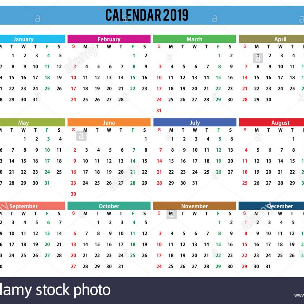 A3 Year Calendar 2019 With English Generic Easy Cropping For The Busy