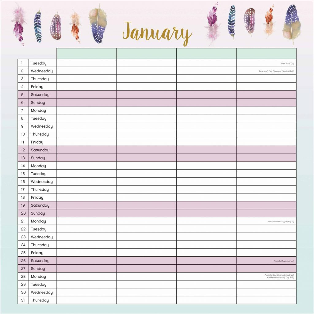 A3 Year Calendar 2019 With Pizazz Family Planner