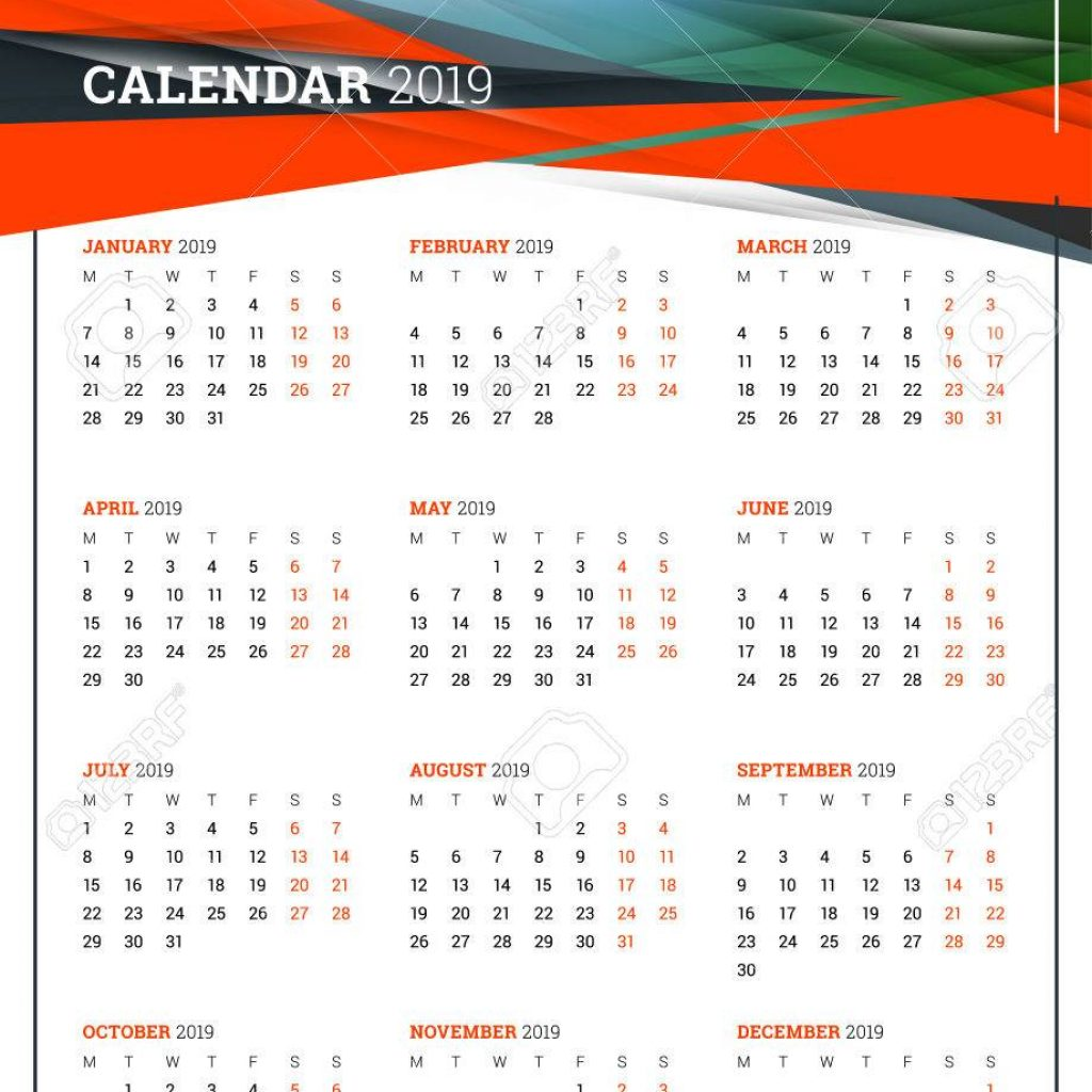 A3 Year Calendar 2019 With Vector Poster Size For Week Starts On Monday Stationery Design Template Abstract Background And Place Photo