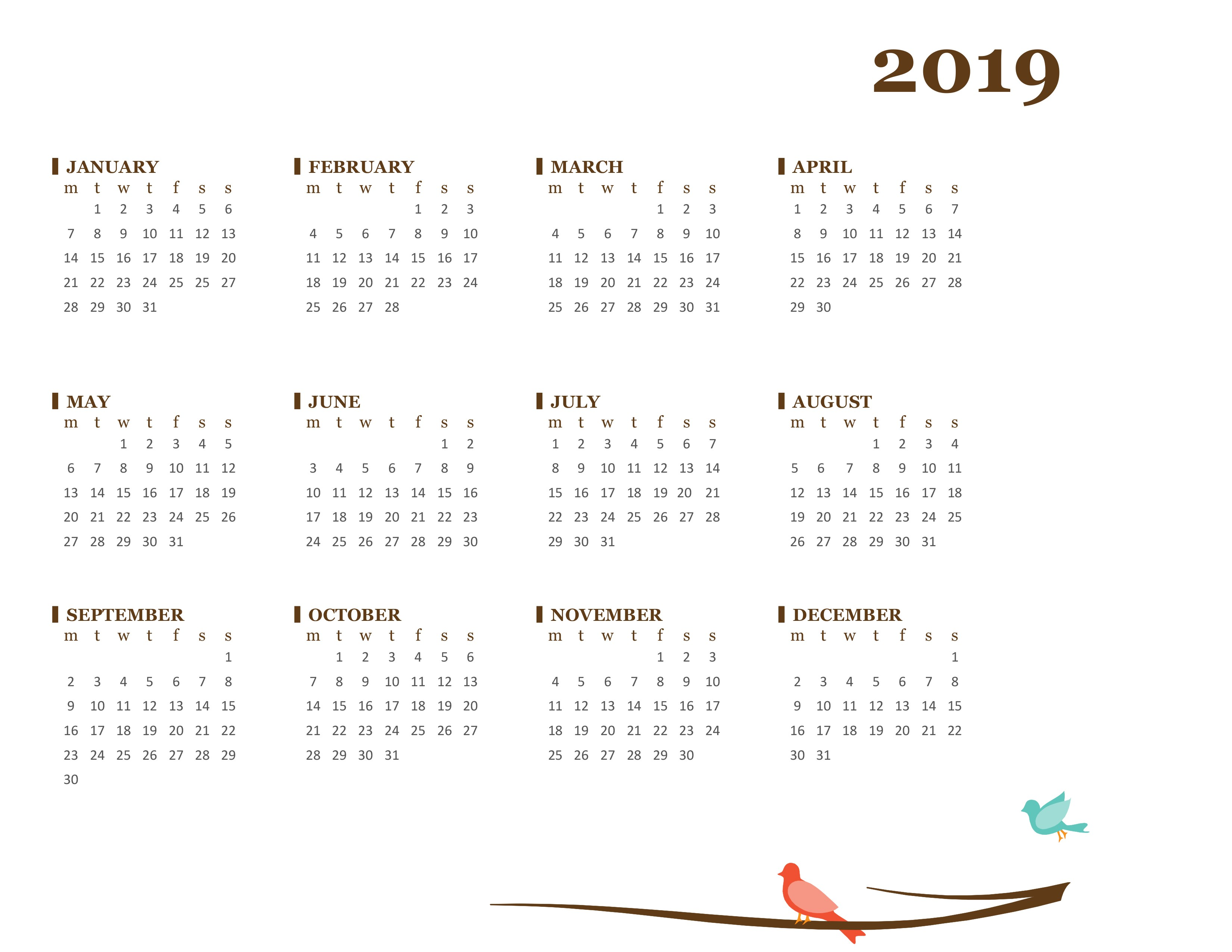 A3 Year Calendar 2019 With Yearly Mon Sun