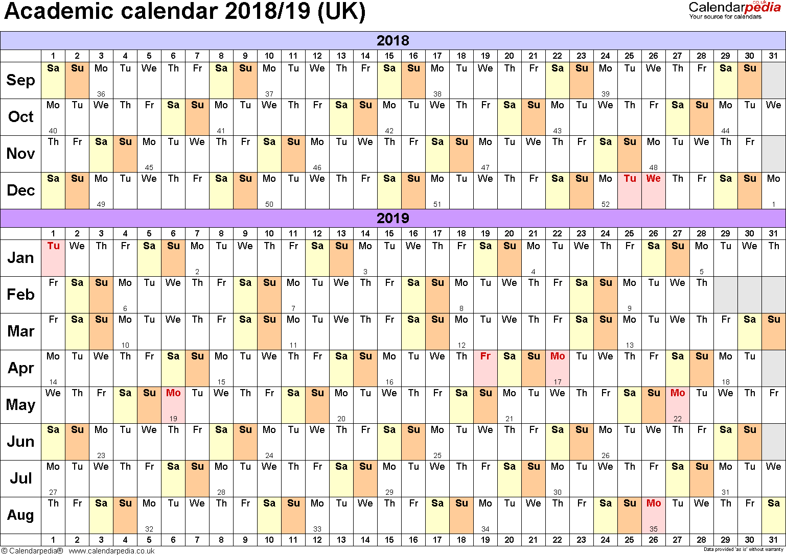 A4 Year Calendar 2019 With Academic Calendars 2018 As Free Printable Word Templates