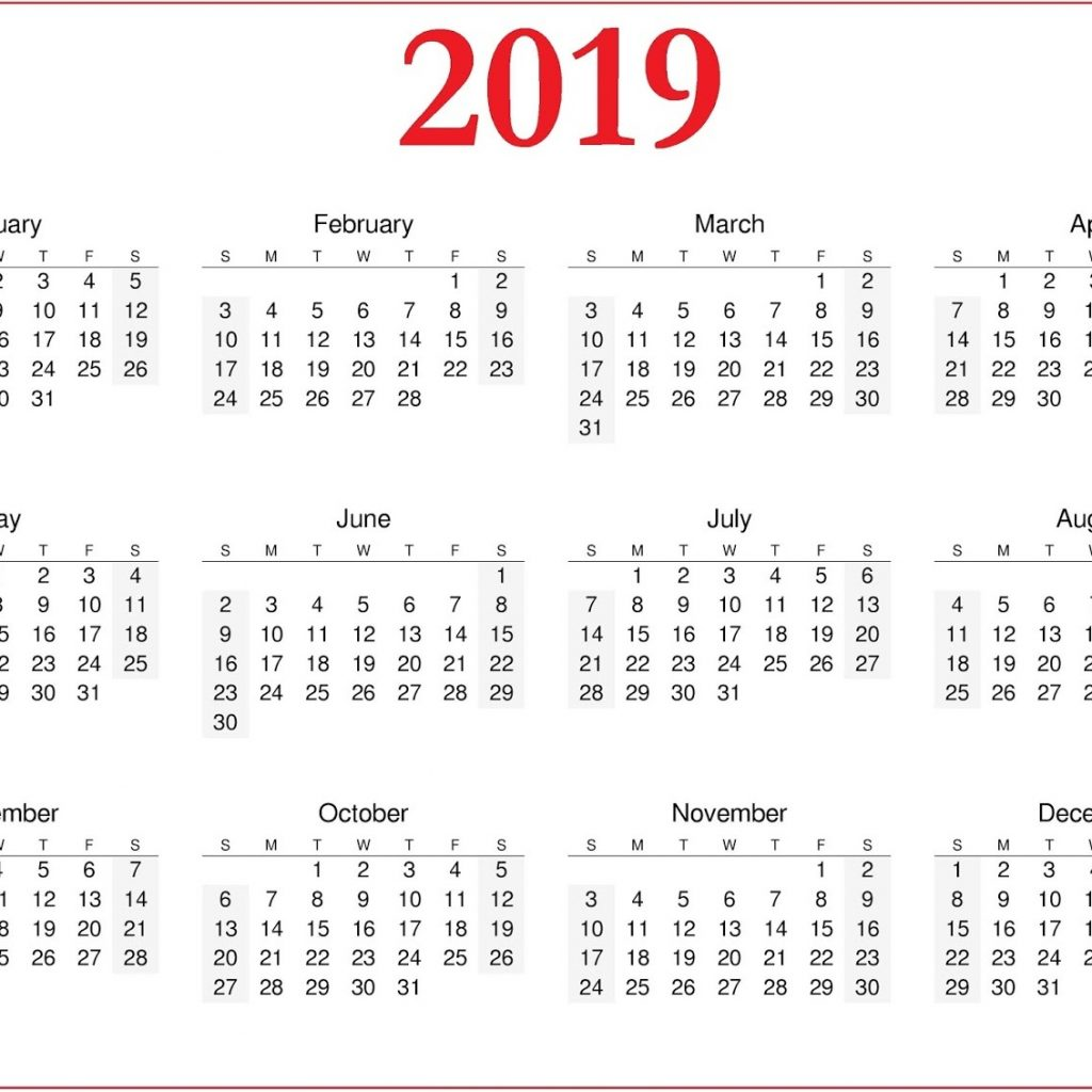 A4 Year Calendar 2019 With Download Free Blank Printable Pages Templates