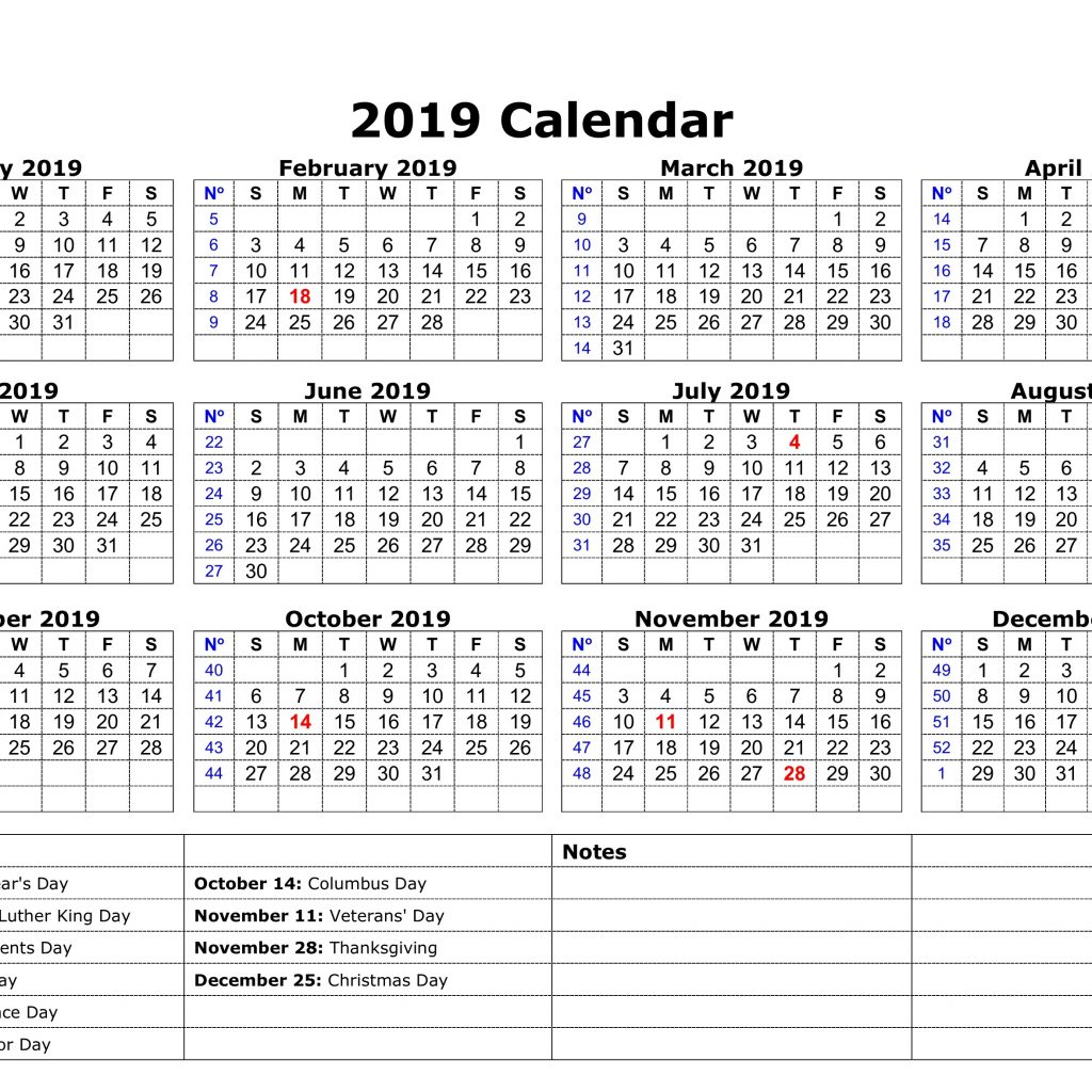 A4 Year Calendar 2019 With Download Printable Yearly USA Holidays