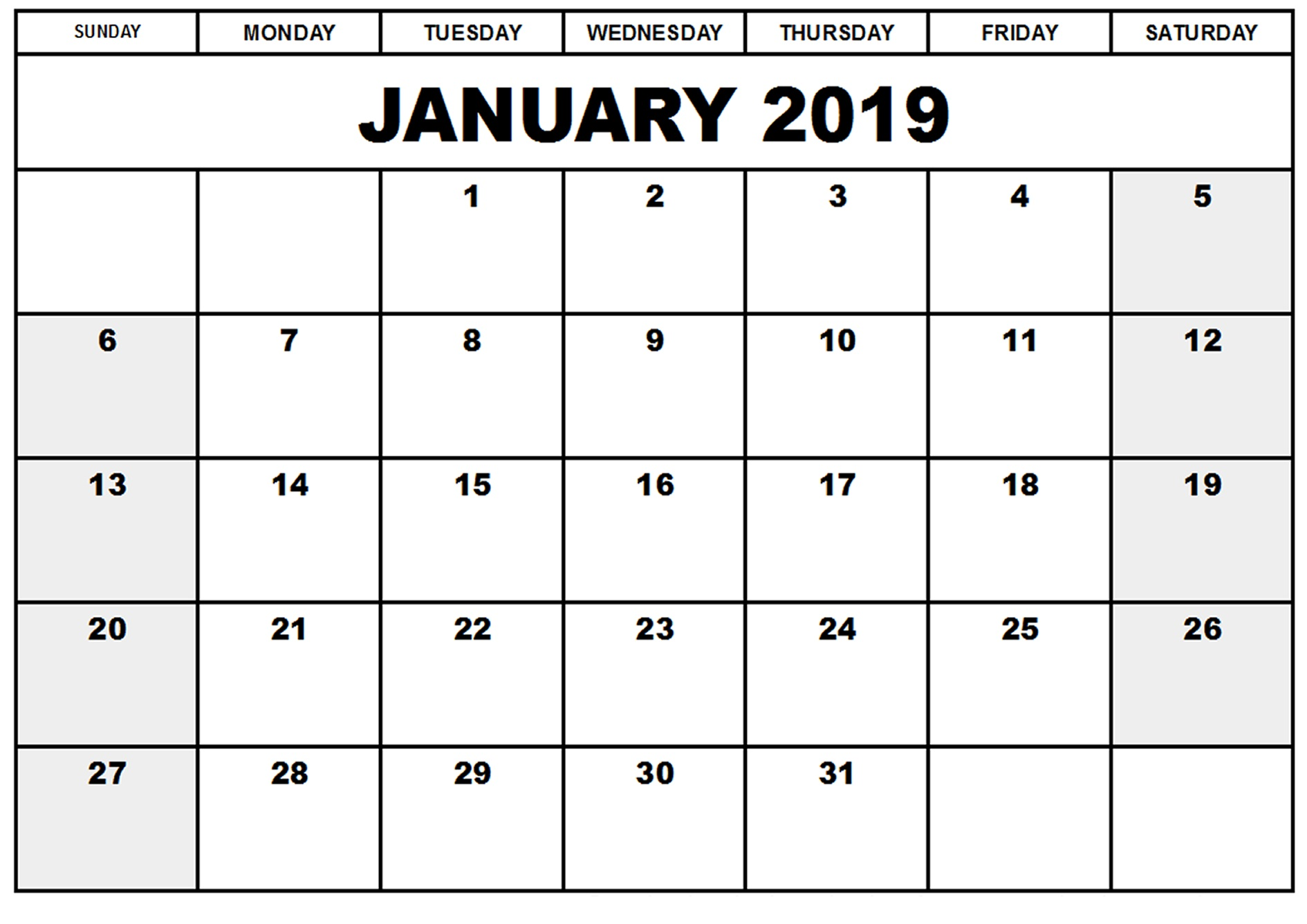 A4 Year Calendar 2019 With Free January Blank