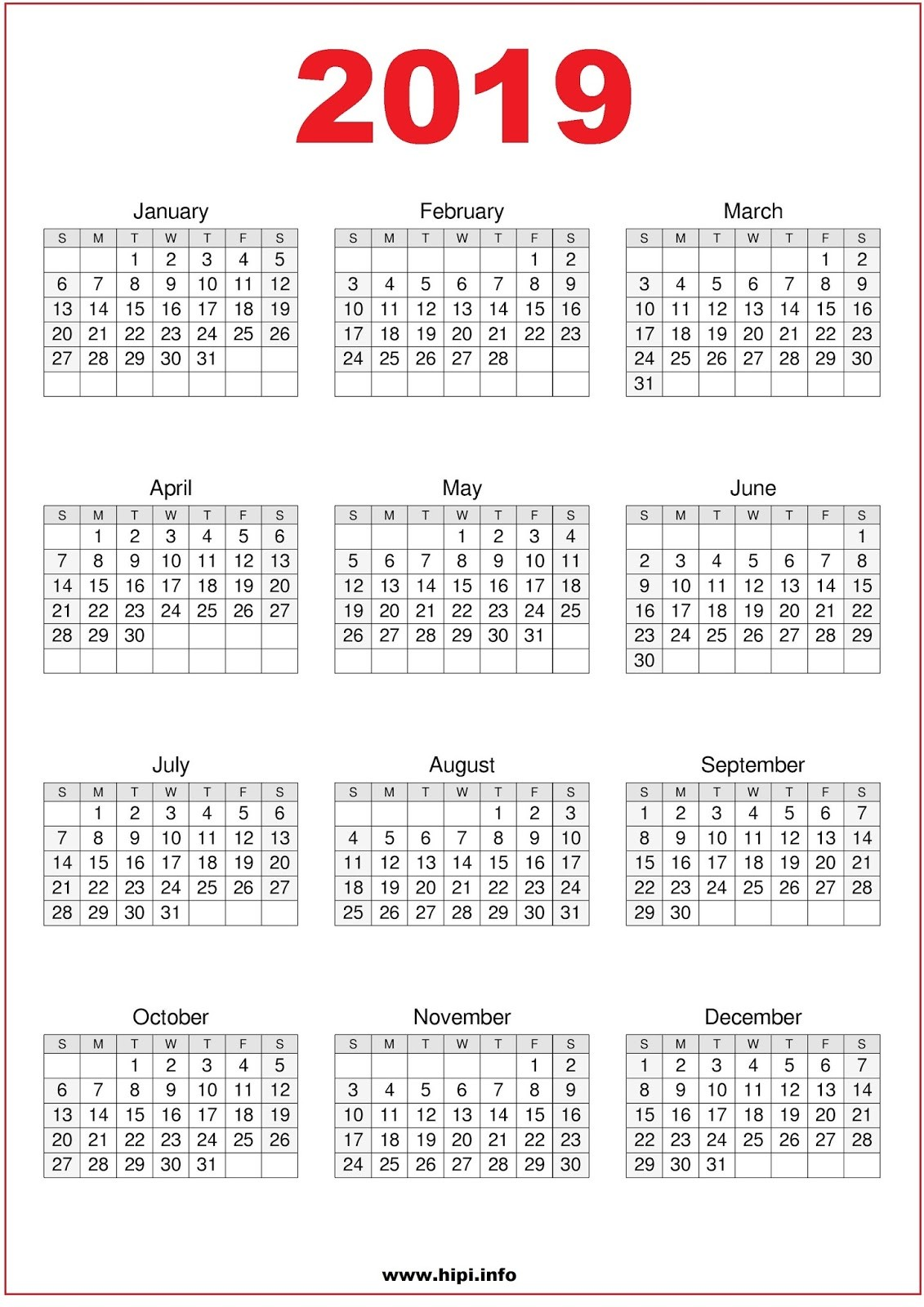 A4 Year Calendar 2019 With Printable Twitter Headers Covers Wallpapers