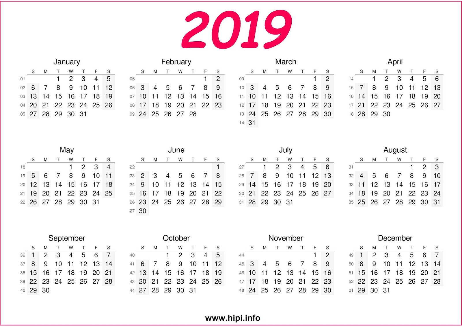 A4 Year Calendar 2019 With Twitter Headers Facebook Covers Wallpapers Calendars