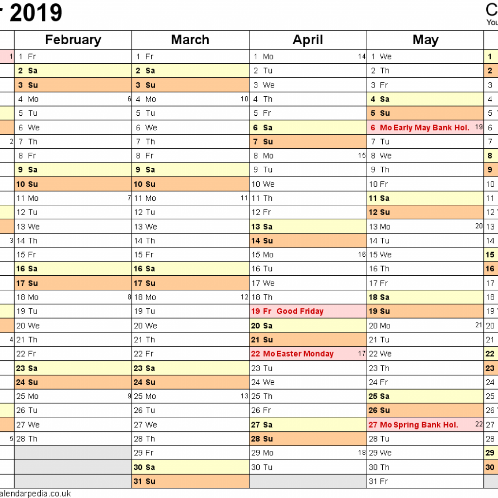 A4 Year Calendar 2019 With UK 16 Free Printable PDF Templates