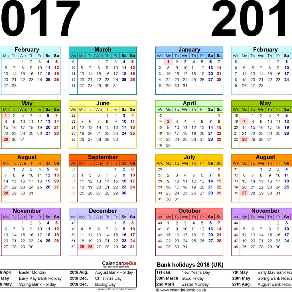 A4 Year Calendar 2019 With Yearly 2018 Bank Holidays Template Design