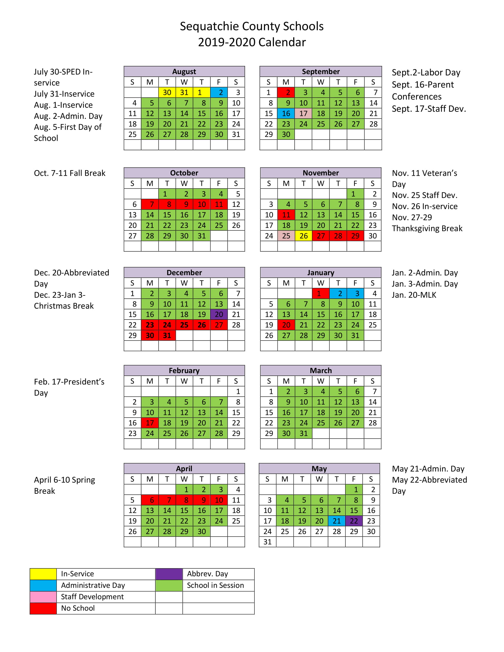 Academic Year Calendar 2019 20 With 2018 19 School