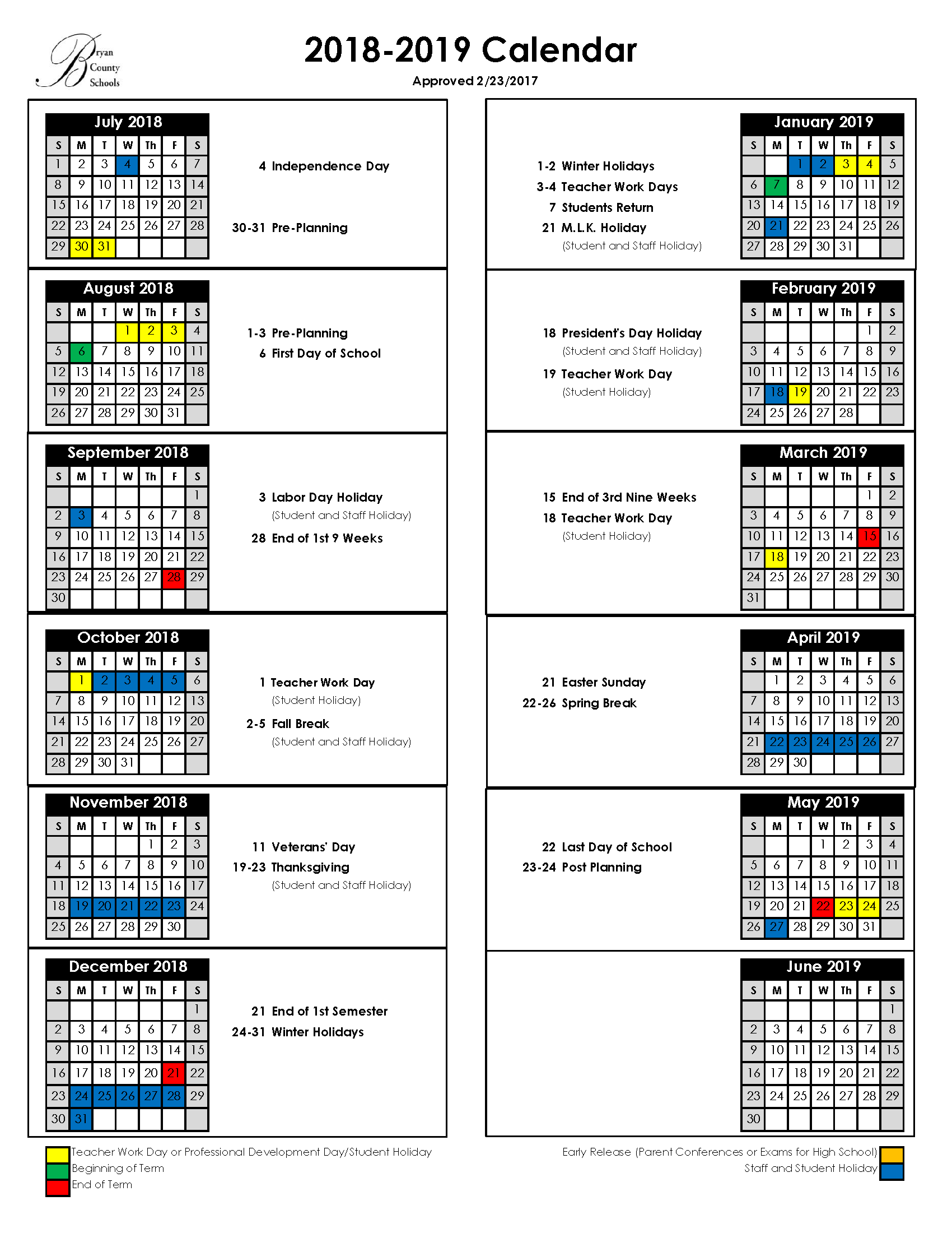 Academic Year Calendar 2019 20 With Bryan County Schools