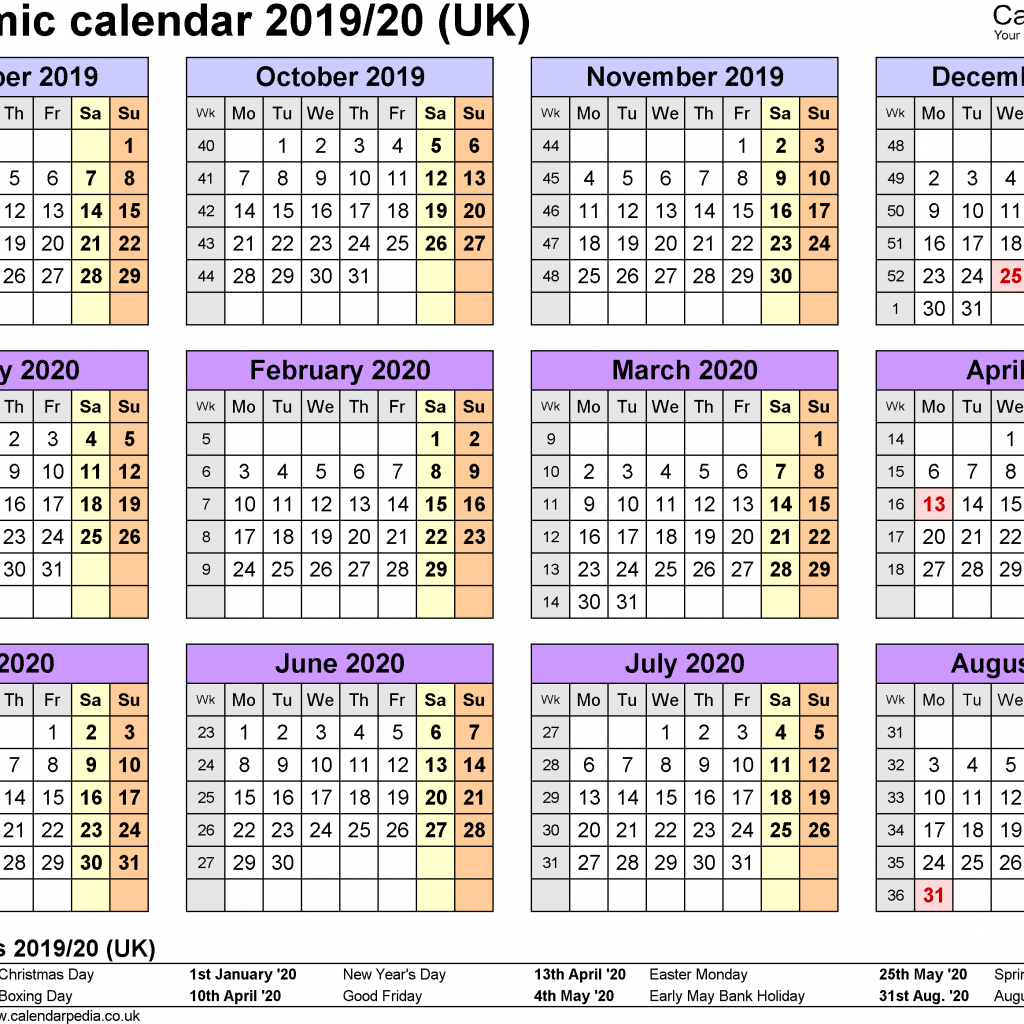 Academic Year Calendar 2019 20 With Calendars 2020 As Free Printable Word Templates