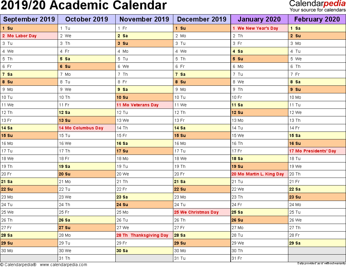 Academic Year Calendar 2019 20 With Calendars 2020 Free Printable Word Templates