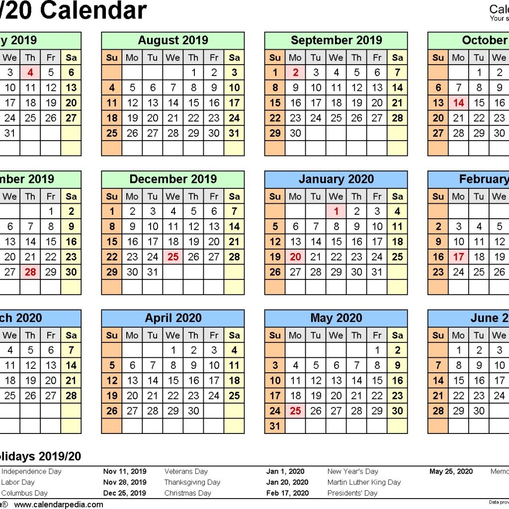 Academic Year Calendar 2019 20 With Printable 16 Split July