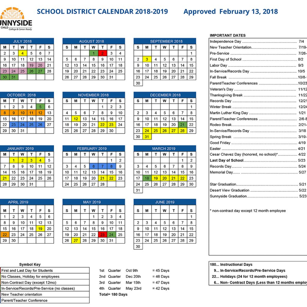 Academic Year Calendar 2019 20 With Sunnyside Unified School District