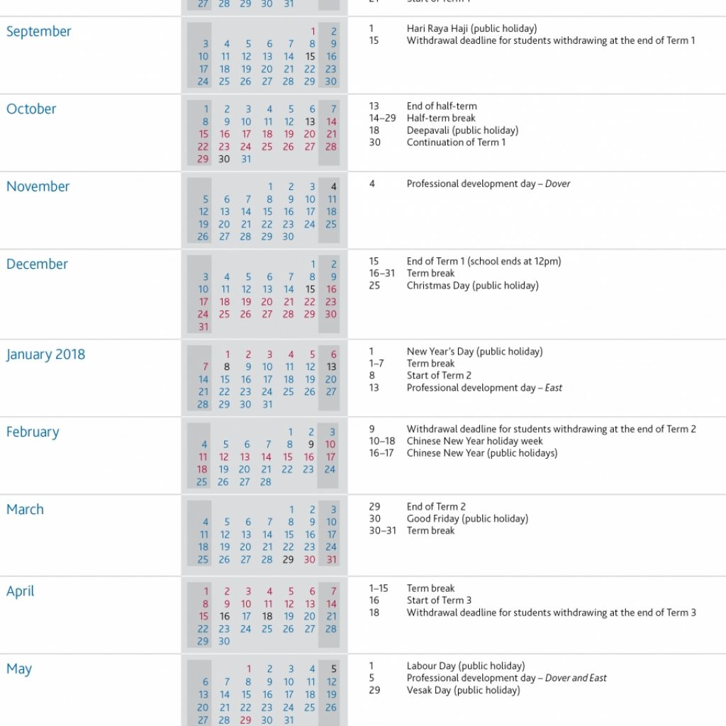 Academic Year Calendar 2019 20 With Term Dates UWCSEA International School In Singapore