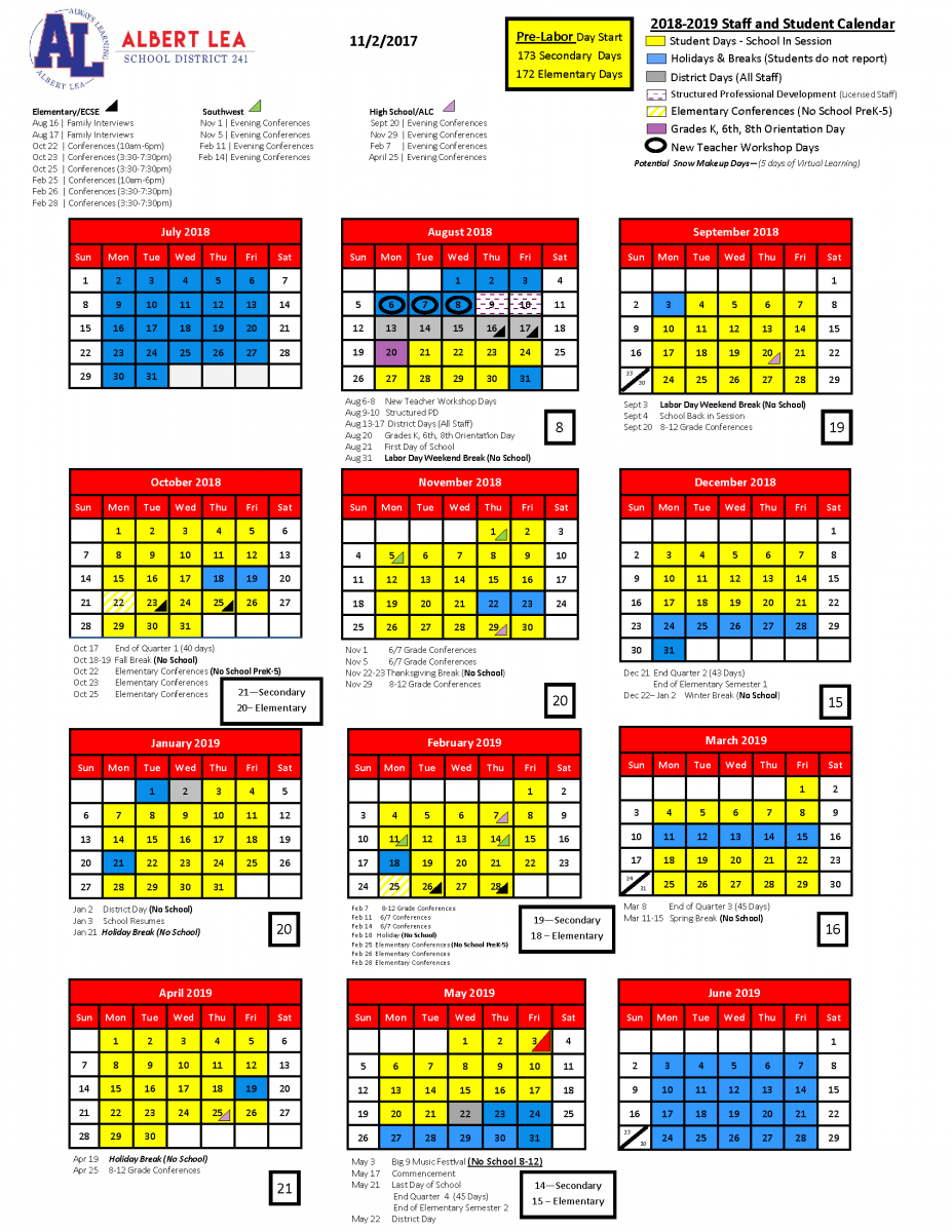 Academic Year Calendar 2019 With 2018 School Albert Lea Area Schools