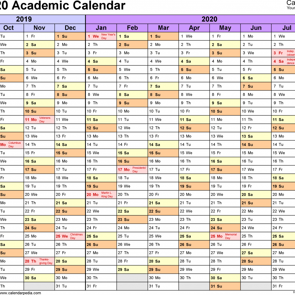 Academic Year Calendar 2019 With Calendars 2020 Free Printable Excel Templates