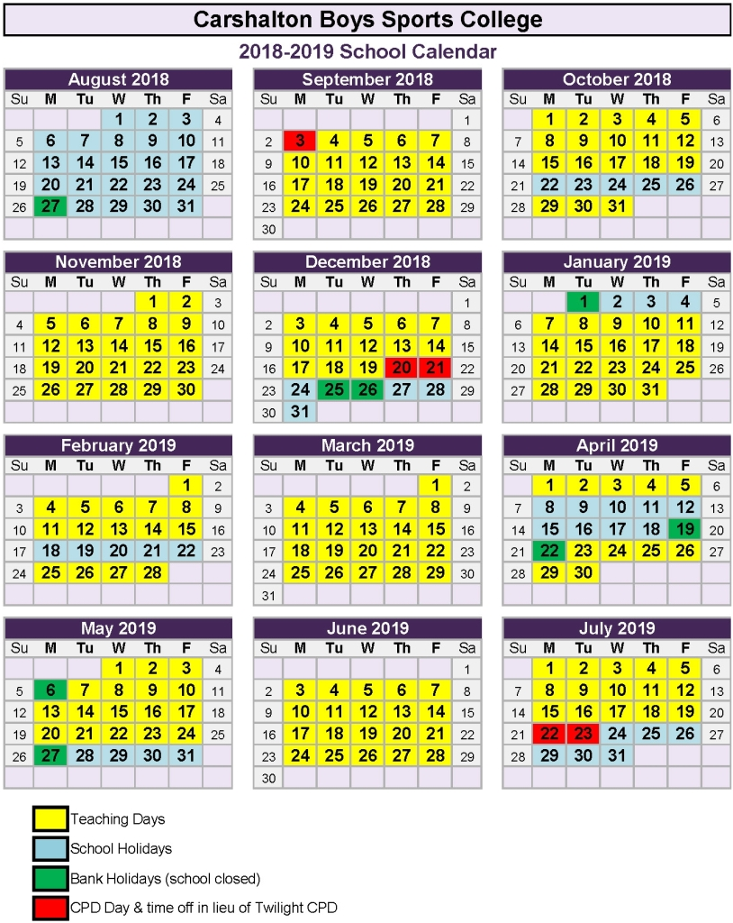 Academic Year Calendar 2019 With Carshalton Boys Sports College Term Dates