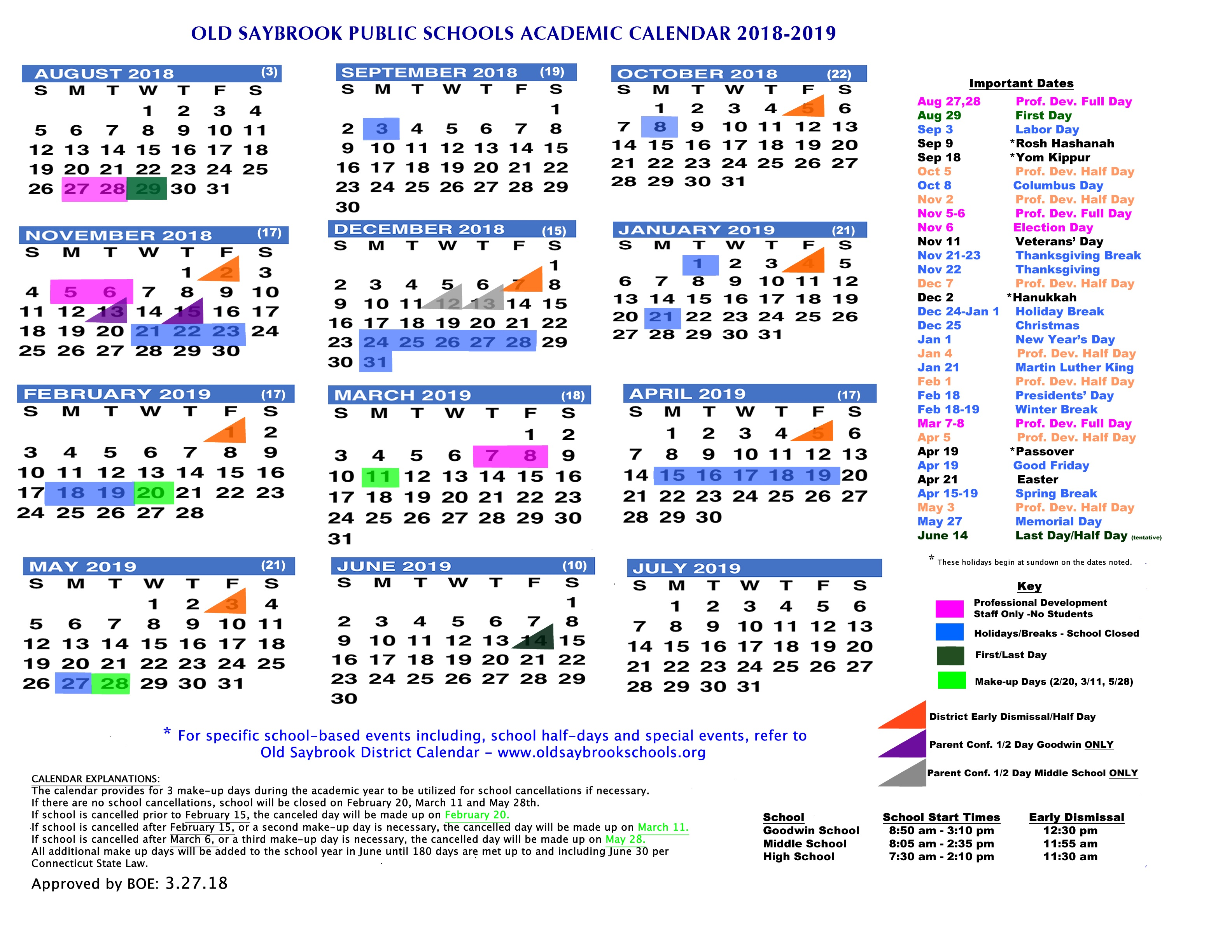 Academic Year Calendar 2019 With Old Saybrook Public Schools