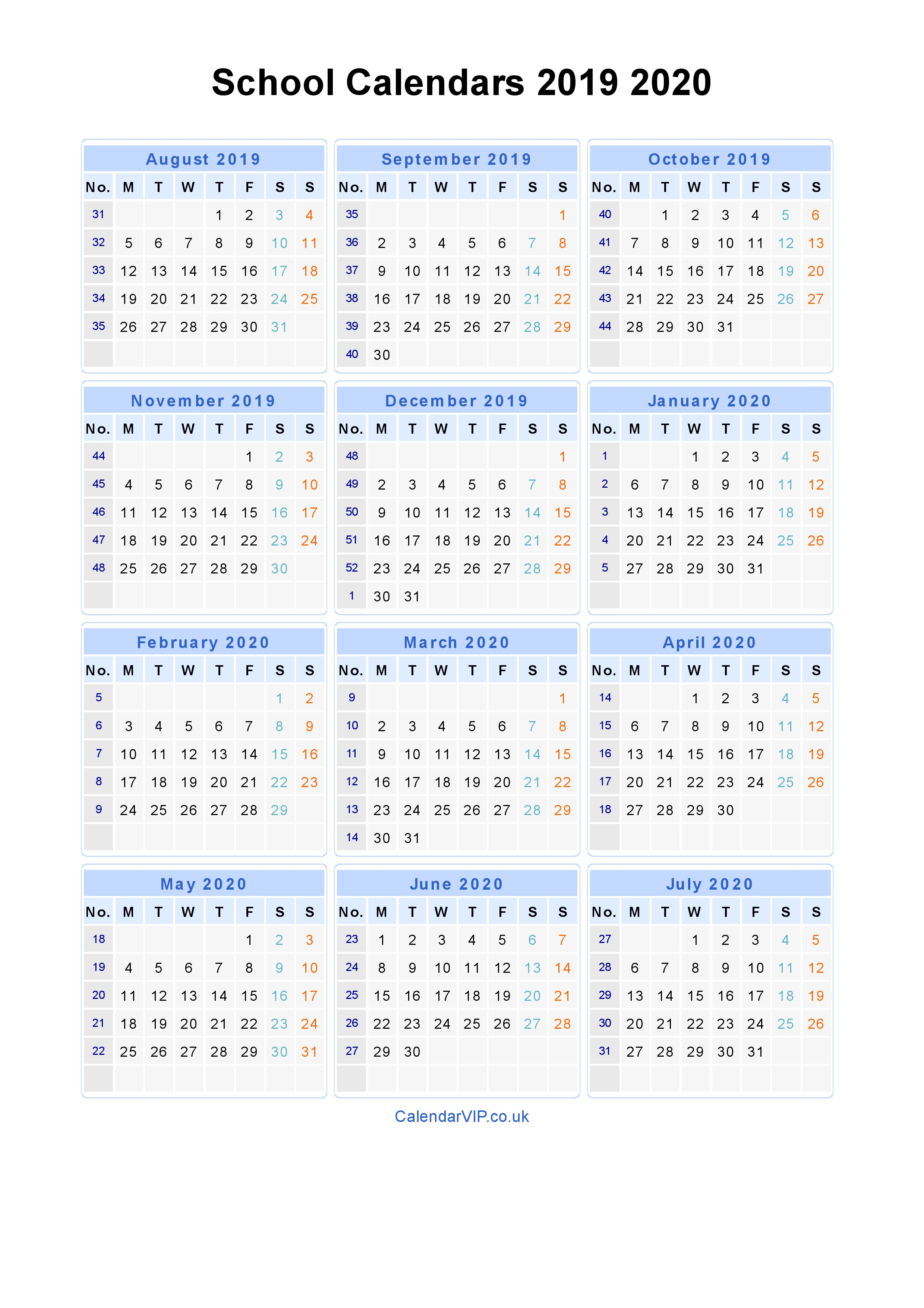 Academic Year Calendar 2019 With School Calendars 2020 From August To July