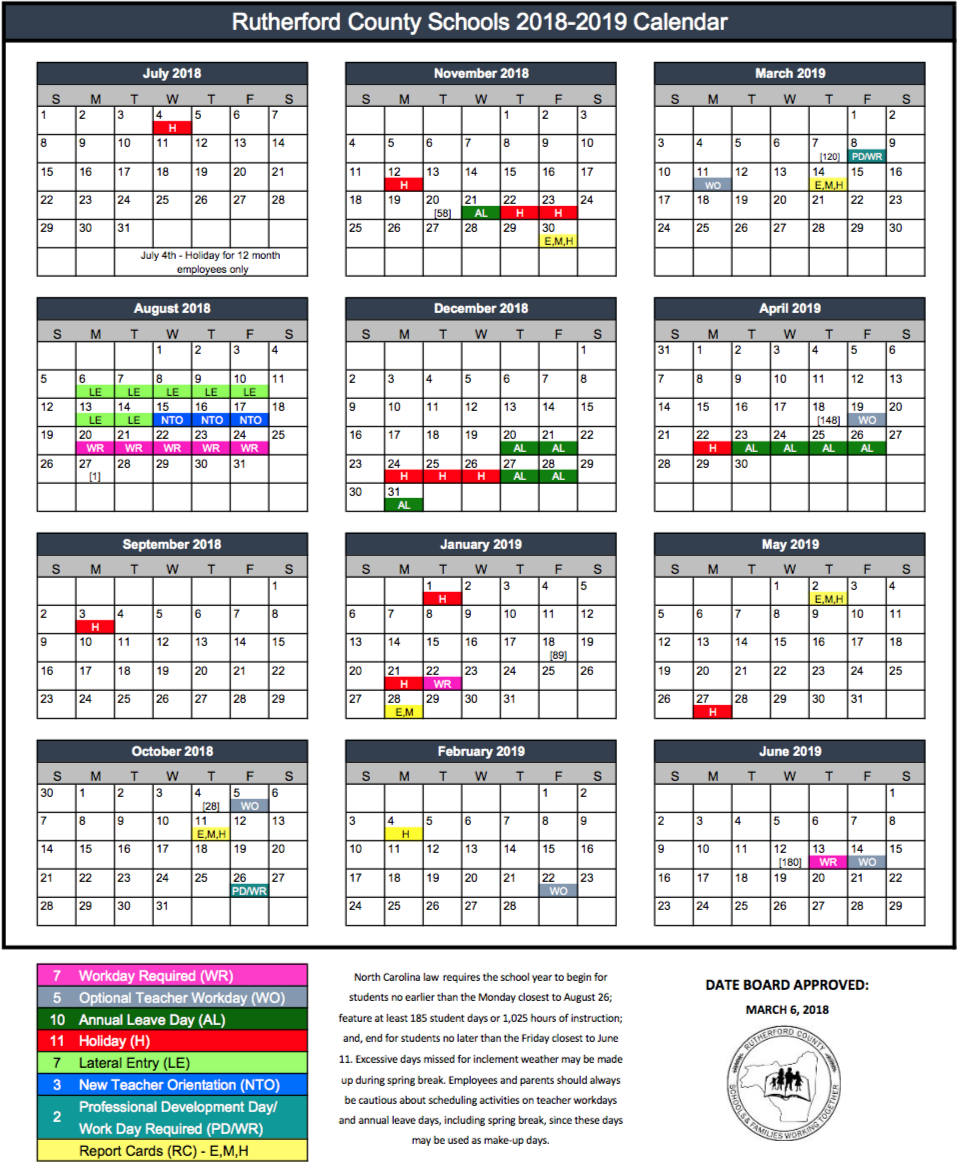 Apple Fiscal Year 2019 Calendar With 2018 RCS Rutherford County Schools