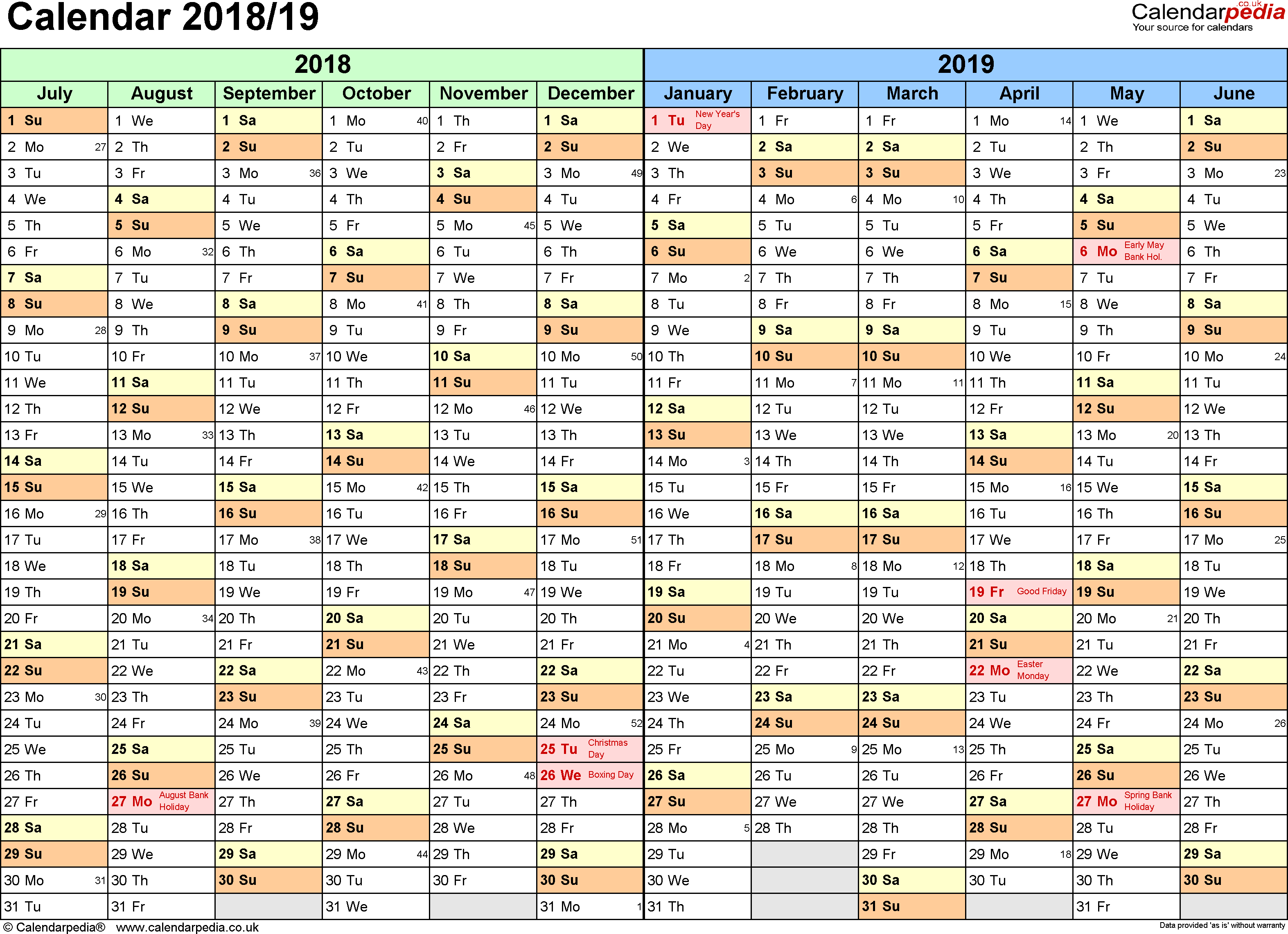 Apple Fiscal Year 2019 Calendar With Split Calendars 2018 19 July To June For Excel UK Version