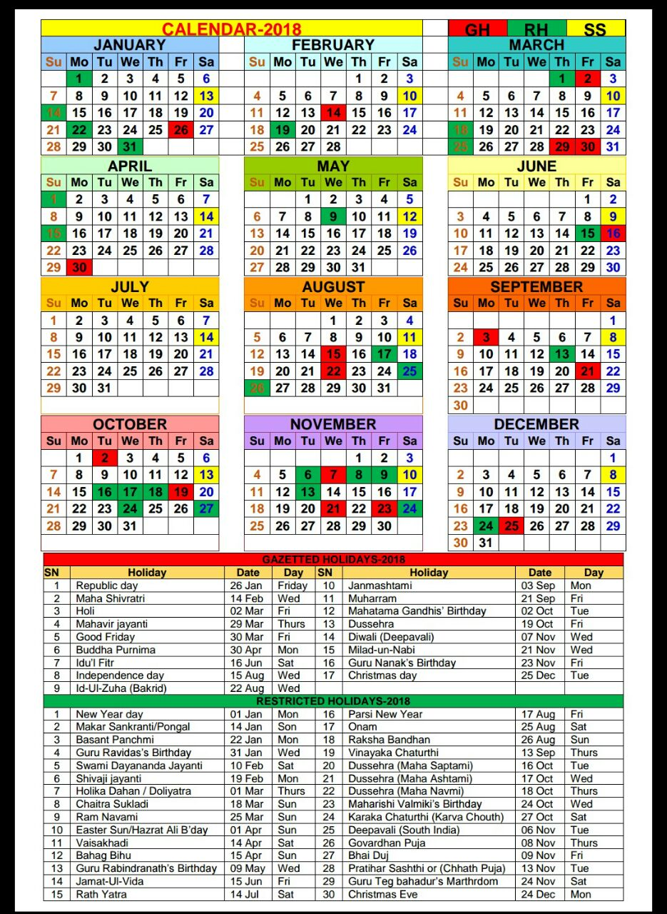 Army Fiscal Year 2019 Calendar With 2018 Gazetted And Restricted Holidays PO TOOLS