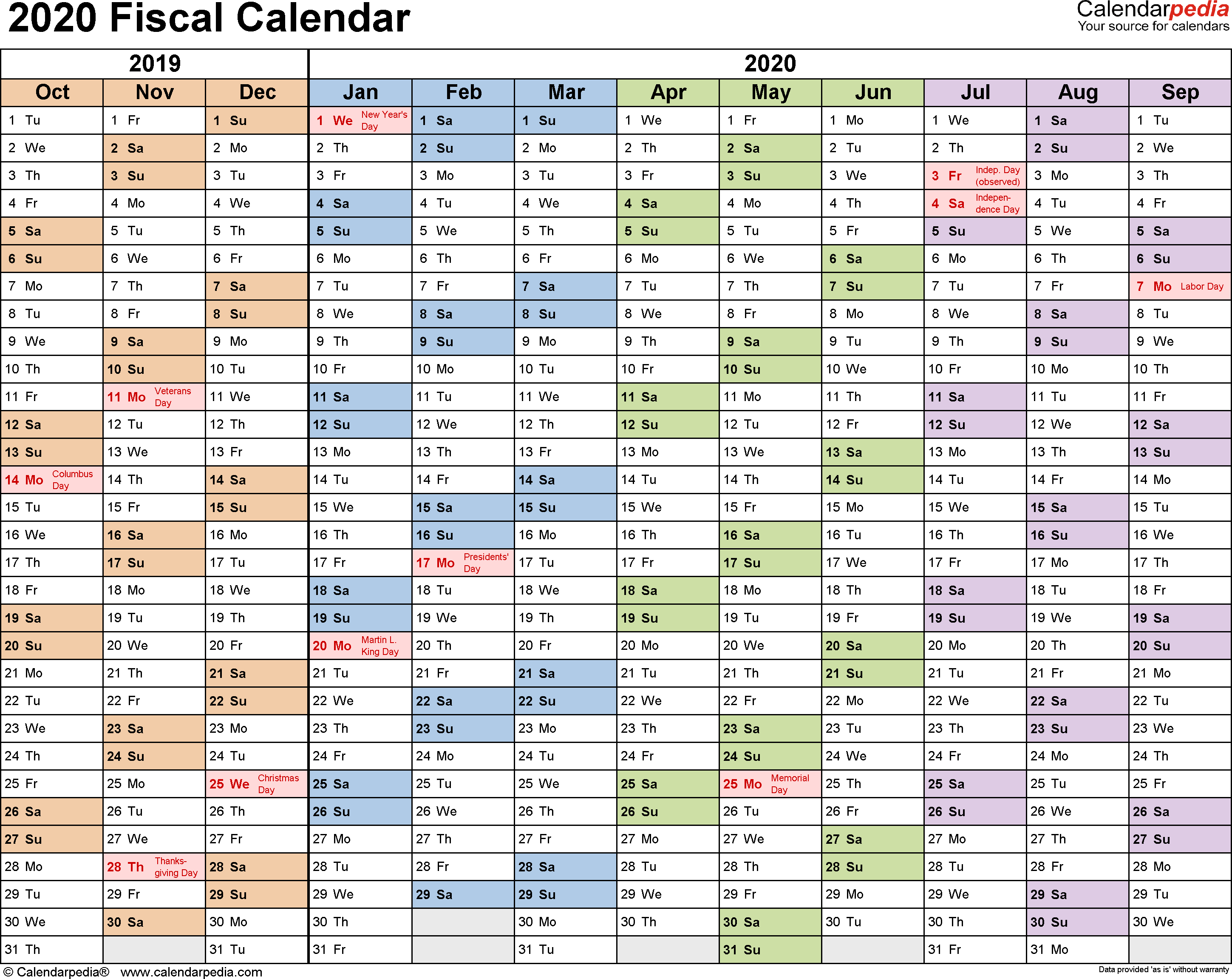 Army Fiscal Year 2019 Calendar With Calendars 2020 As Free Printable PDF Templates